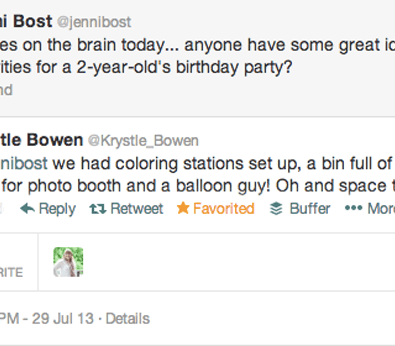 two year old birthday activity idea via twitter