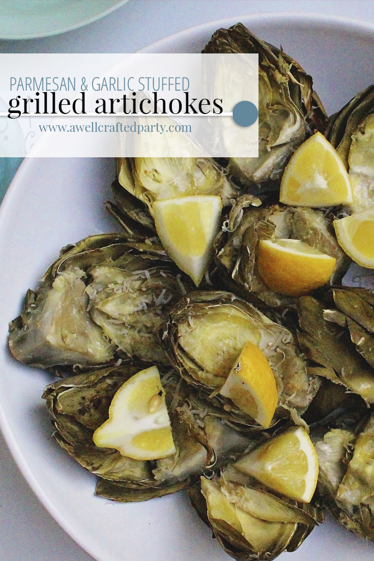 Parmesan & Garlic Stuffed Grilled Artichokes