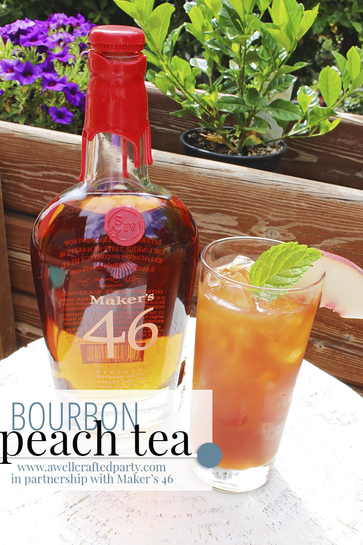 I partnered with Maker's 46 to create this recipe of Bourbon Peach Tea - a perfect summer cocktail! Featured on A Well Crafted Party.