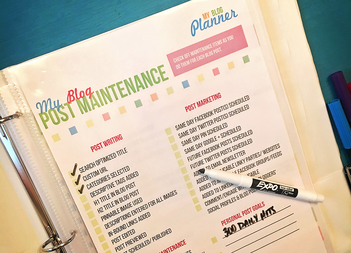 Blog Maintenance Worksheets Free Printables - A Well Crafted Party