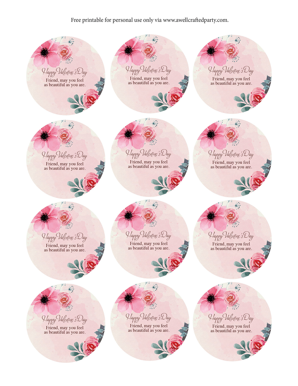 Free Printable Valentine's Day Gift Tags - A Well Crafted Party