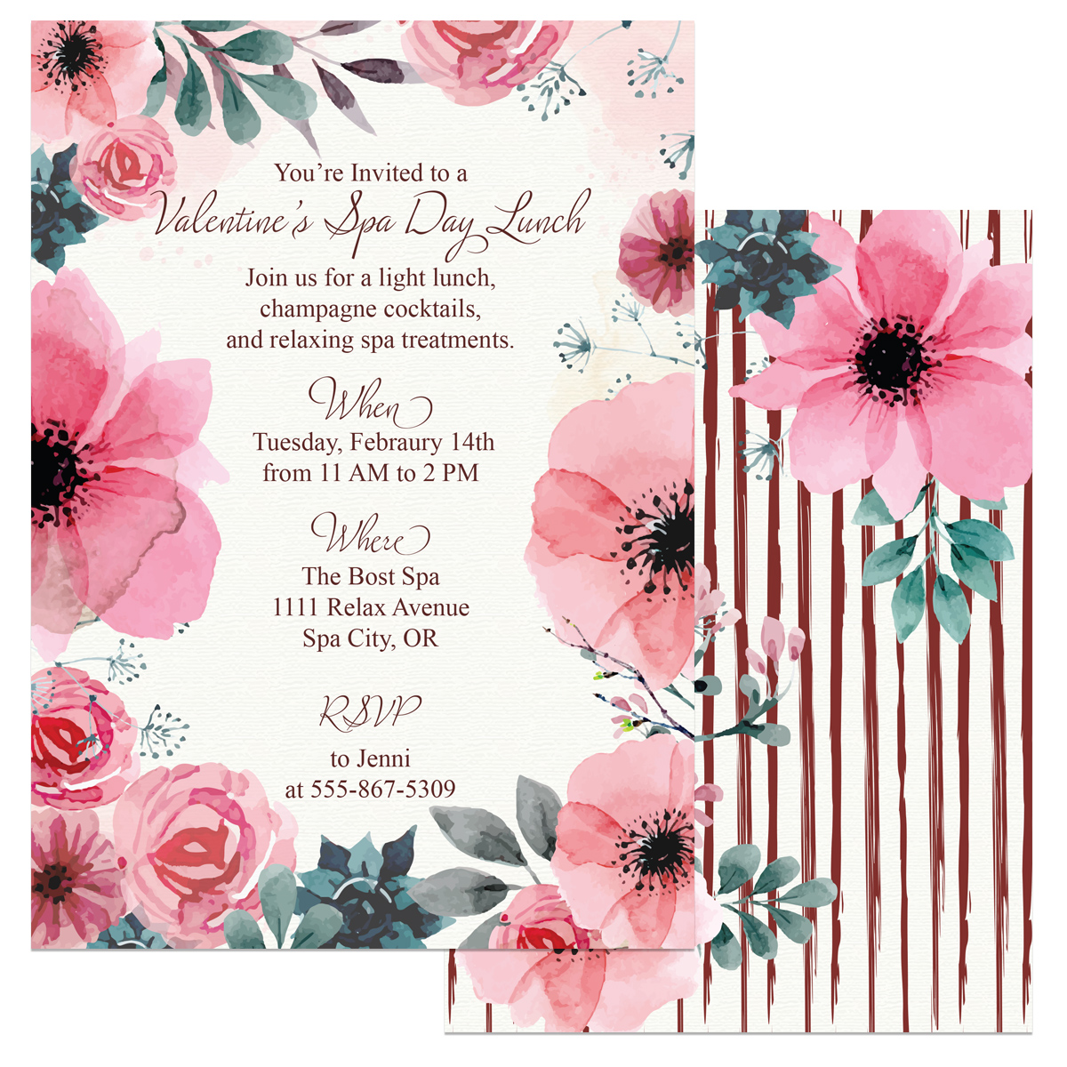 Valentines Day Spa Invitations - A Well Crafted Party