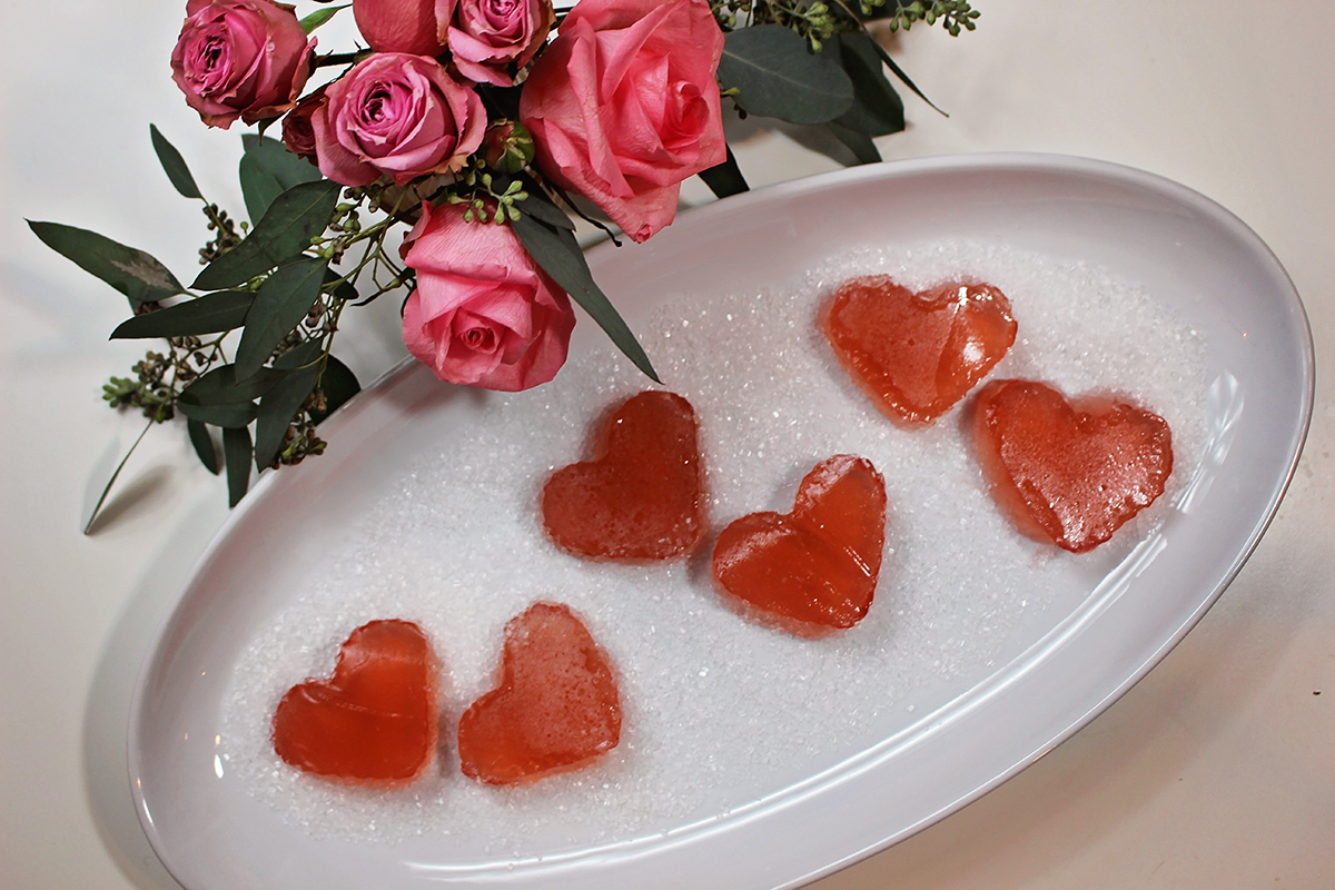Sparkling Rose' Jello Hearts - Spa Day Valentine's Lunch with A Well Crafted Party