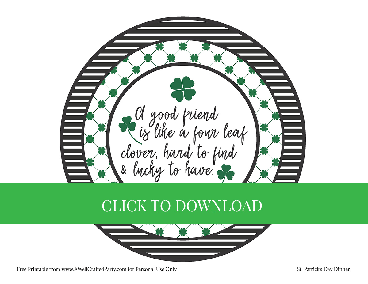 St. Patrick's Day Free Printable from A Well Crafted Party