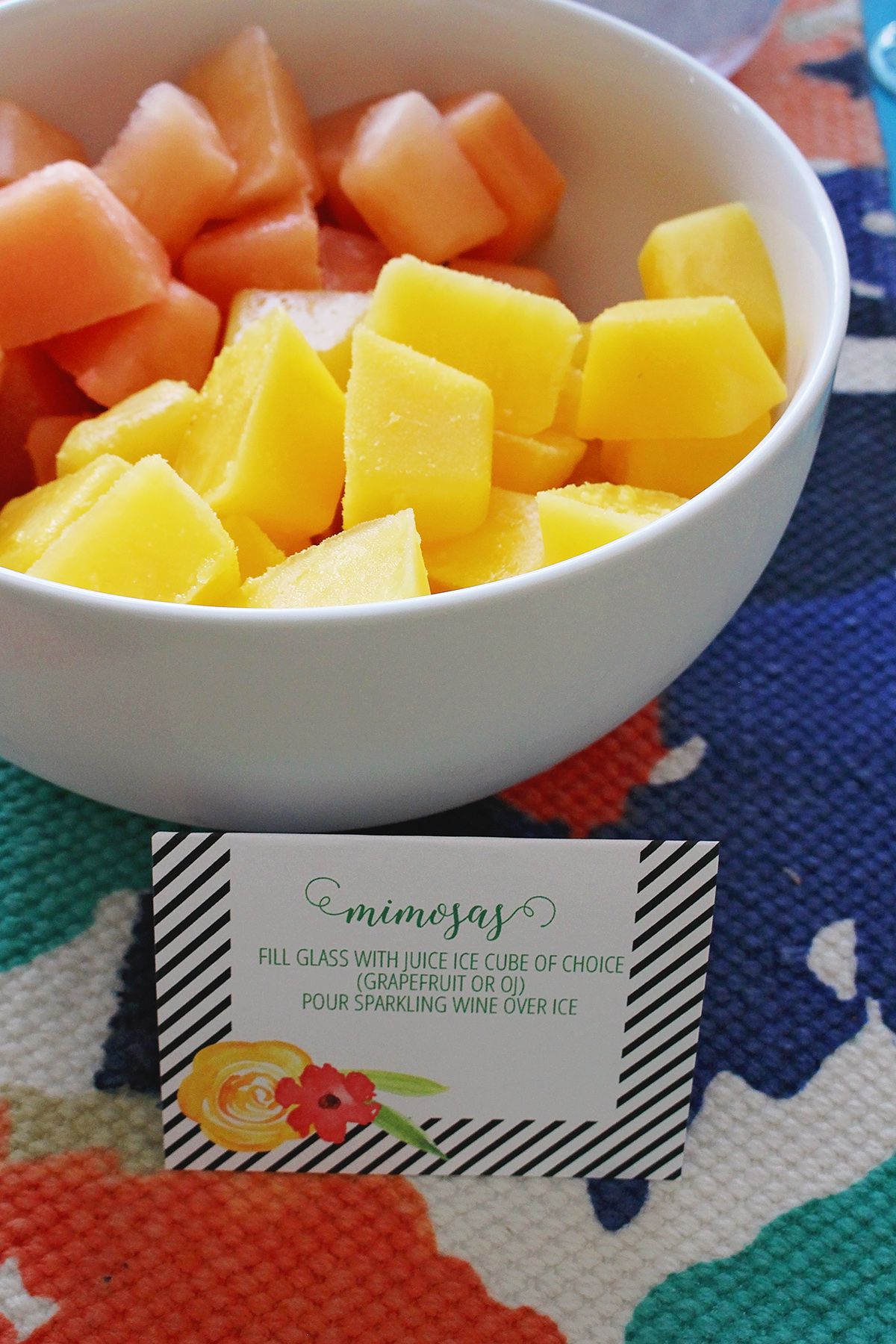 Graduation Party - Freeze Juice ahead of time to make delicious and easy to build mimosas | A Well Crafted Party
