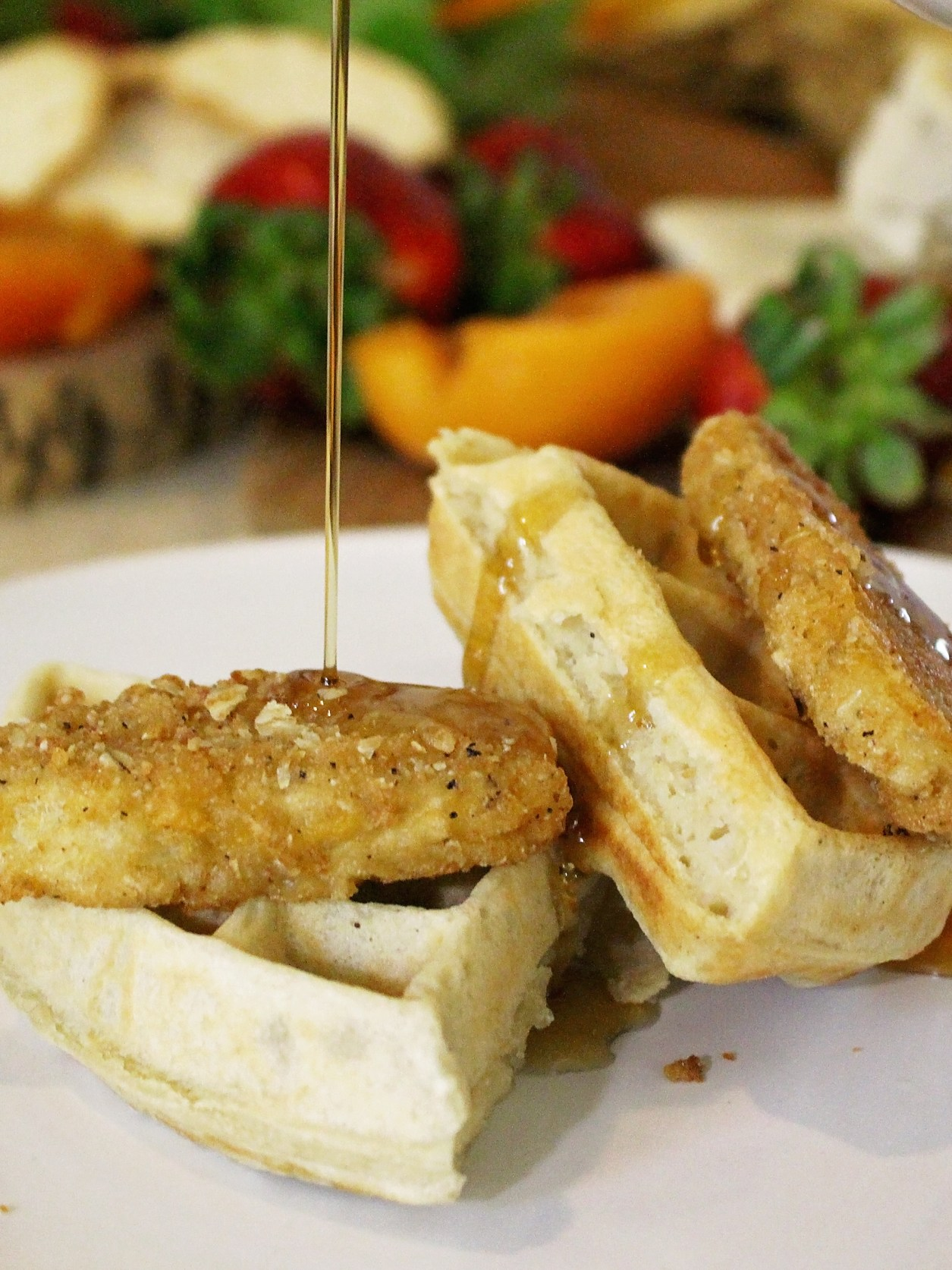 Vegan Chicken and Waffles at a Vegan Brunch Baby Shower   A Well Crafted Party