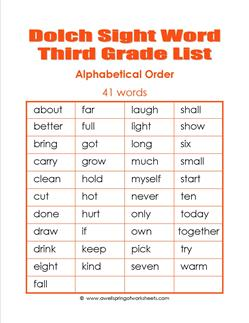 3rd Grade Dolch Word List Alphabetical Order Dolch