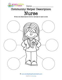 Community Helper Descriptions Nurse A Wellspring