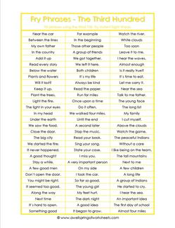 Fry Phrases The Third 100 Fry Word Phrases A Wellspring