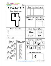 Number Worksheets for Kindergarten | Number 4 Worksheet