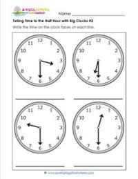 Telling Time to the Half Hour with Big Clocks #2 | A ...