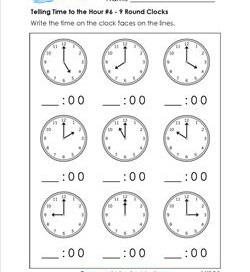 Telling Time to the Hour Worksheets for First Grade