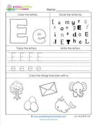 ABC Worksheets - Letter E - Alphabet Worksheets | A Wellspring