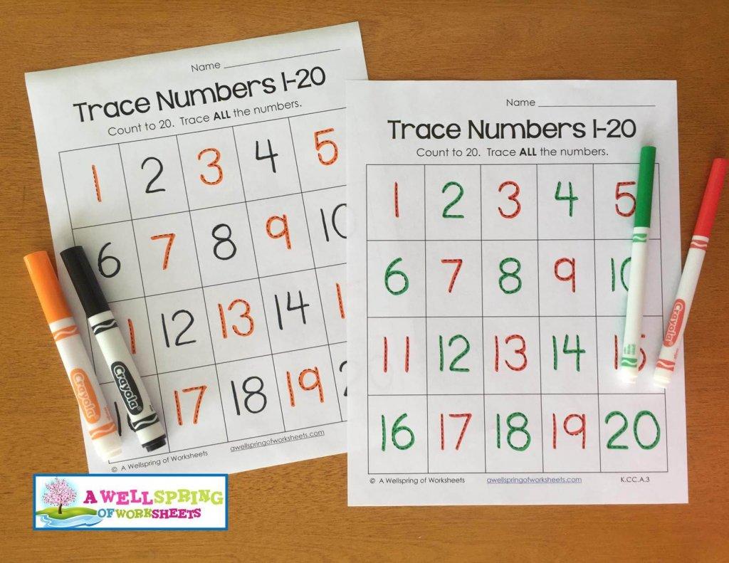 Worksheet On Tracing Numbers 1 20