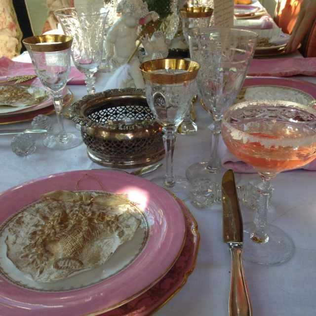 Vintage crystal and china place setting