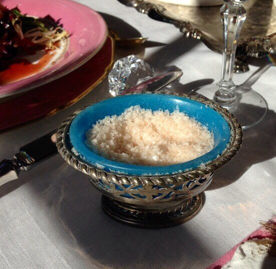 Pink salt in vintage dish.