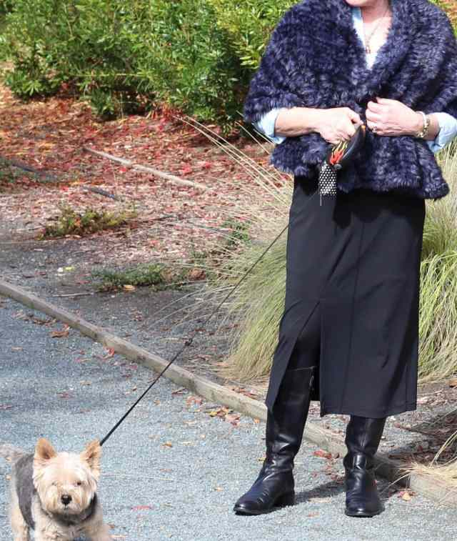 Chico's Lauren Ruana and slim skirt