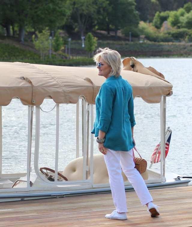 dockside wearing linen shirt by Lisa Bayne