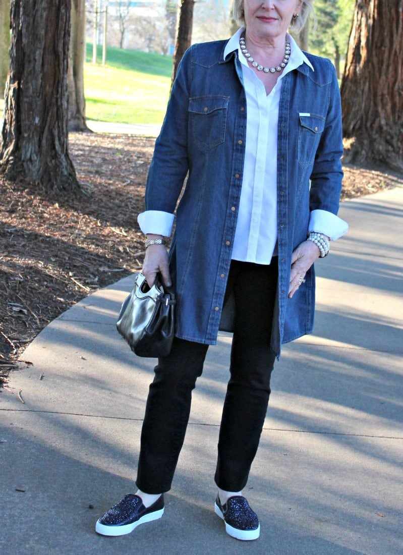 Jennifer Connolly of A Well Styled Life wearing perfect white shirt from Talbots