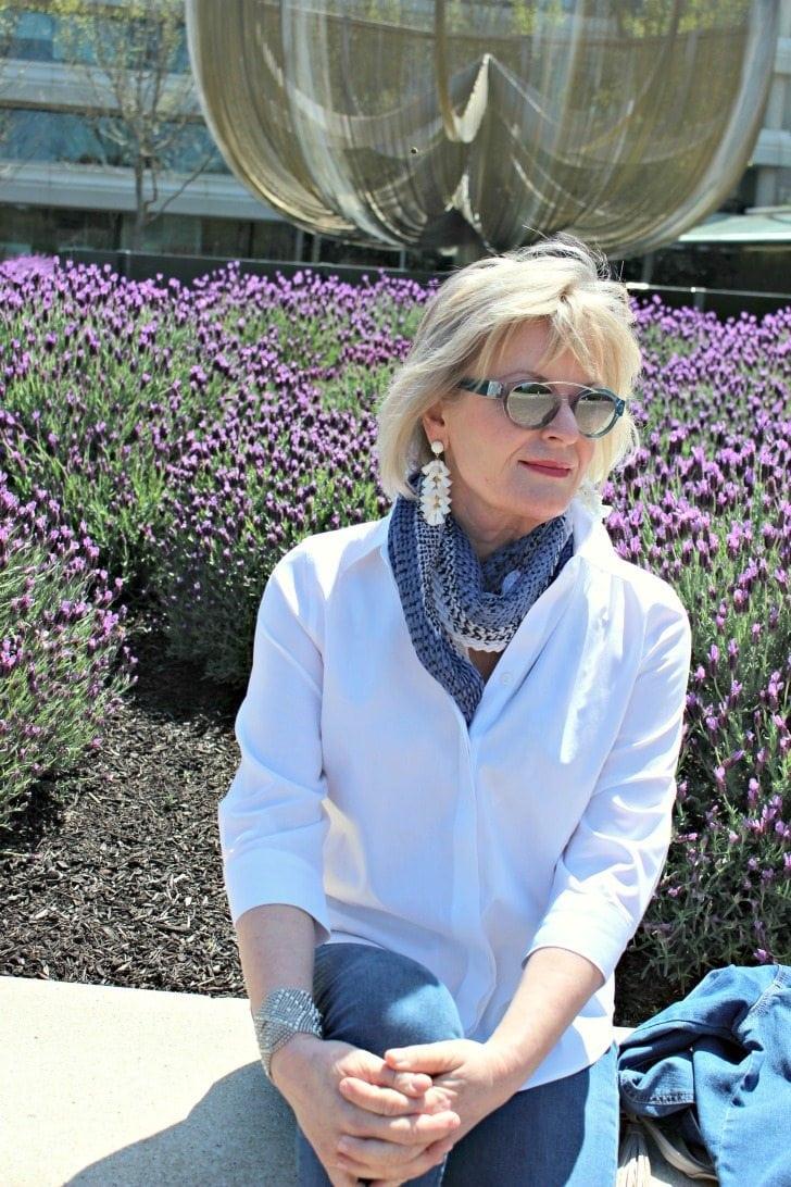 Jennifer Connolly wearing double denim in blue