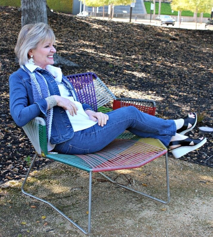 JENNIFER CONNOLLY OF A WELL STYLED LIFE WEARIGN DOUBLE DENIM IN BLUE