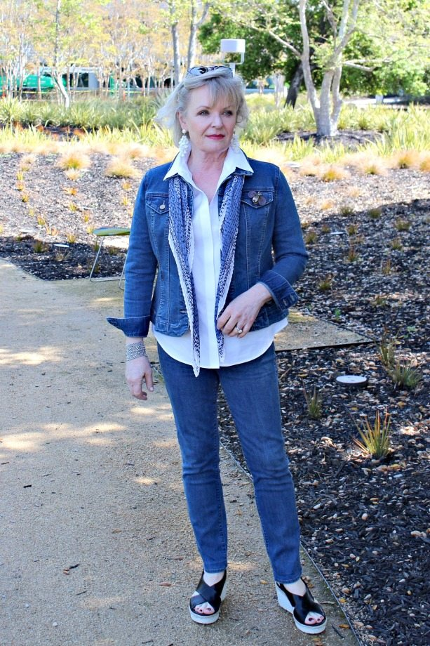 Jennifer Connolly of A Well Styled Life wearing double denim in blue