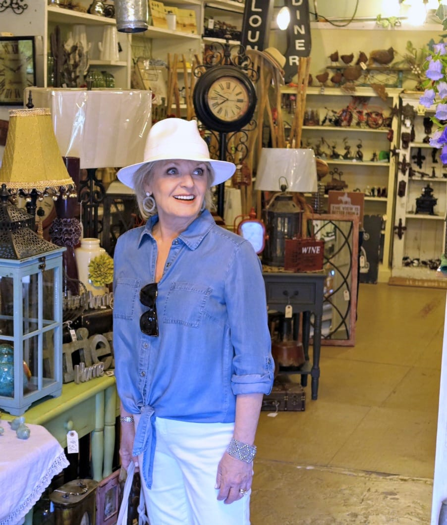 Jennifer Connolly of A Well Styled Life exploring antique store in Amador City