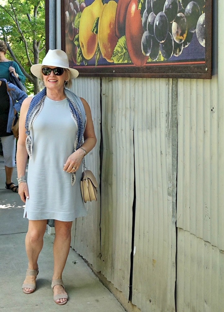 Jennifer Connolly of A Well Styled Life wearing Lou & Grey dress for a casual lunch out