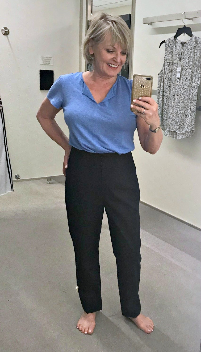 Jennifer Connolly of A Well Styled Life modelingHigh Waist Pants by Emerson Rose from Nordstrom