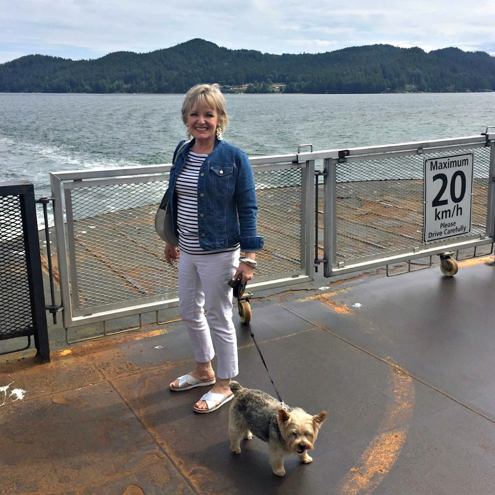 Jennifer Connolly of A Well Styled Life on BC ferry to Gibsons, BC
