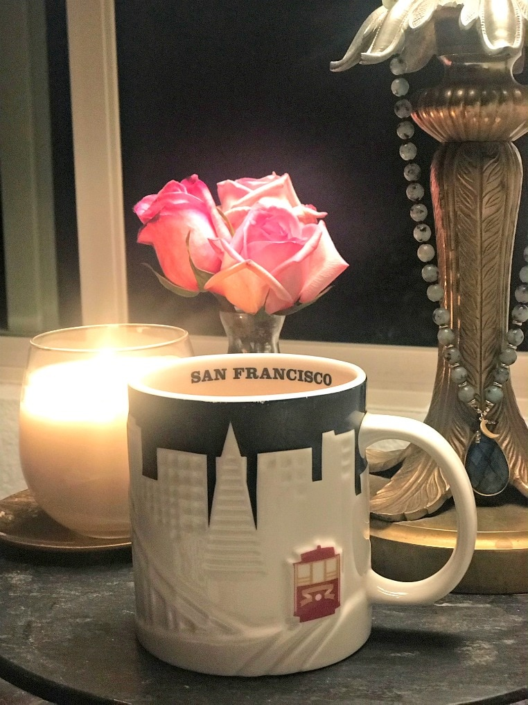 starbucks mug and Sanari candle on A Well Styled Life