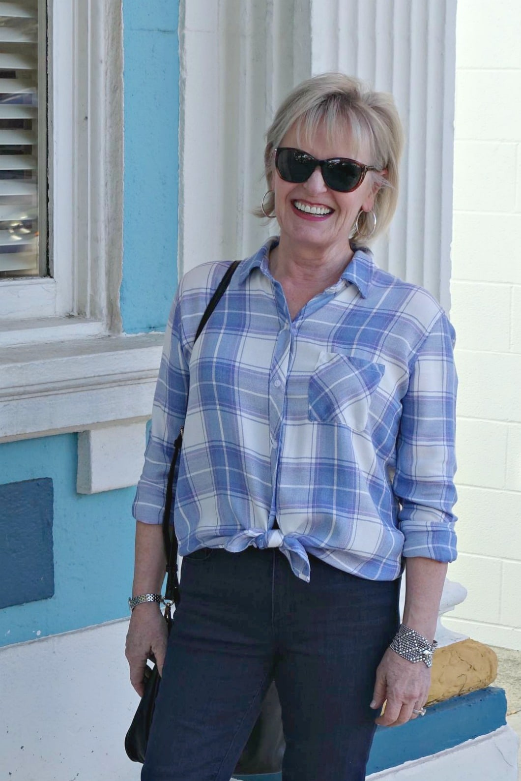 Style expert Jennifer Connolly of A Well Styled Life styling plaid with peals