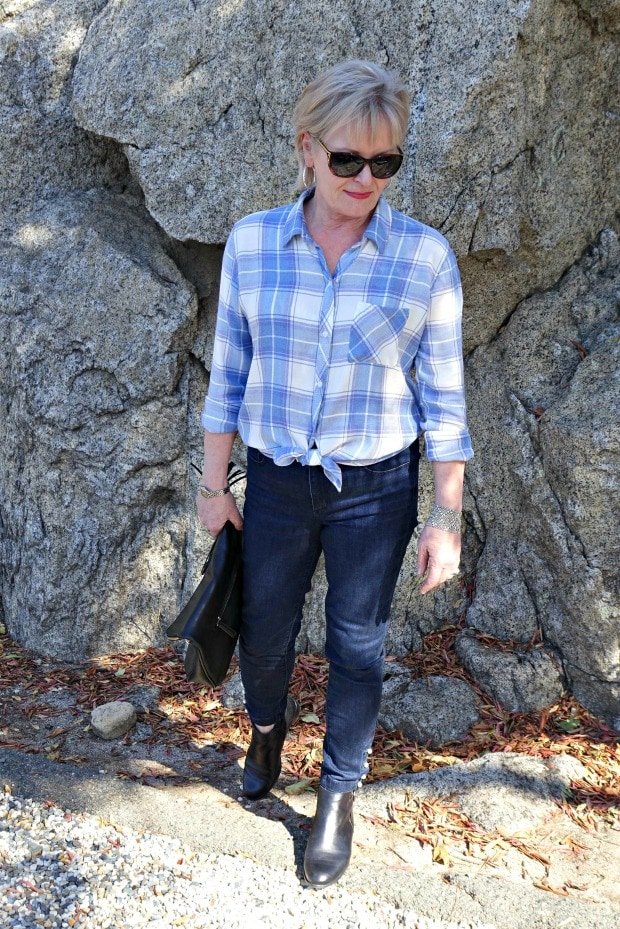wearing pearl cuff jeans from Ann Taylor