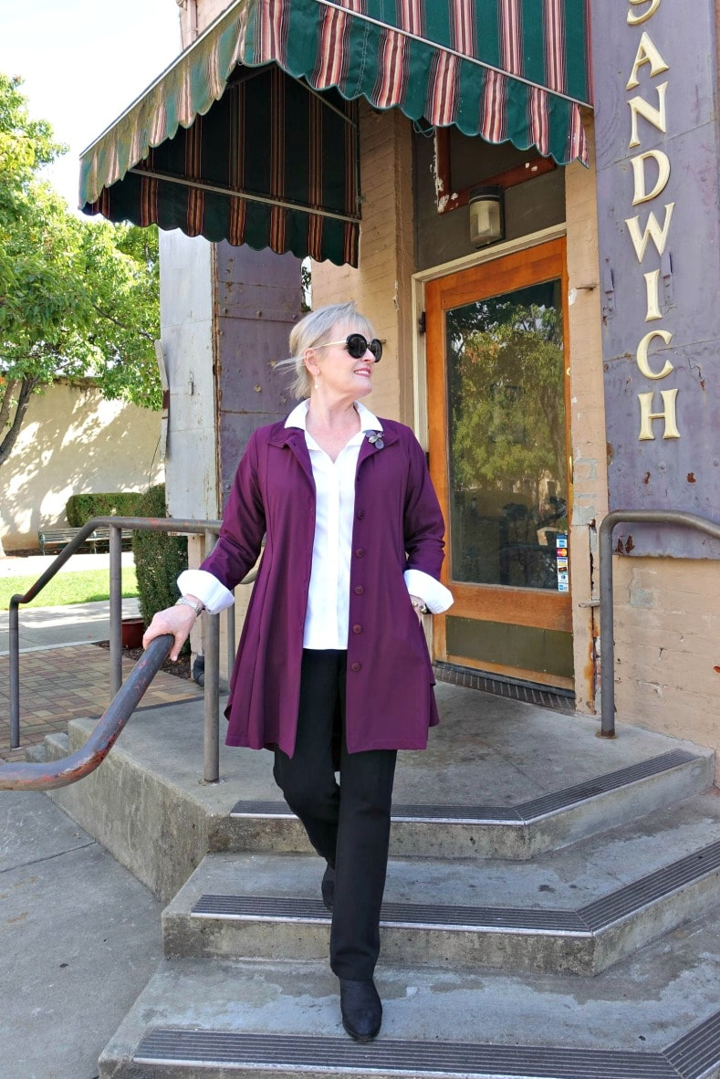 Wearing the Larkspur Travel jacket from Artful Home