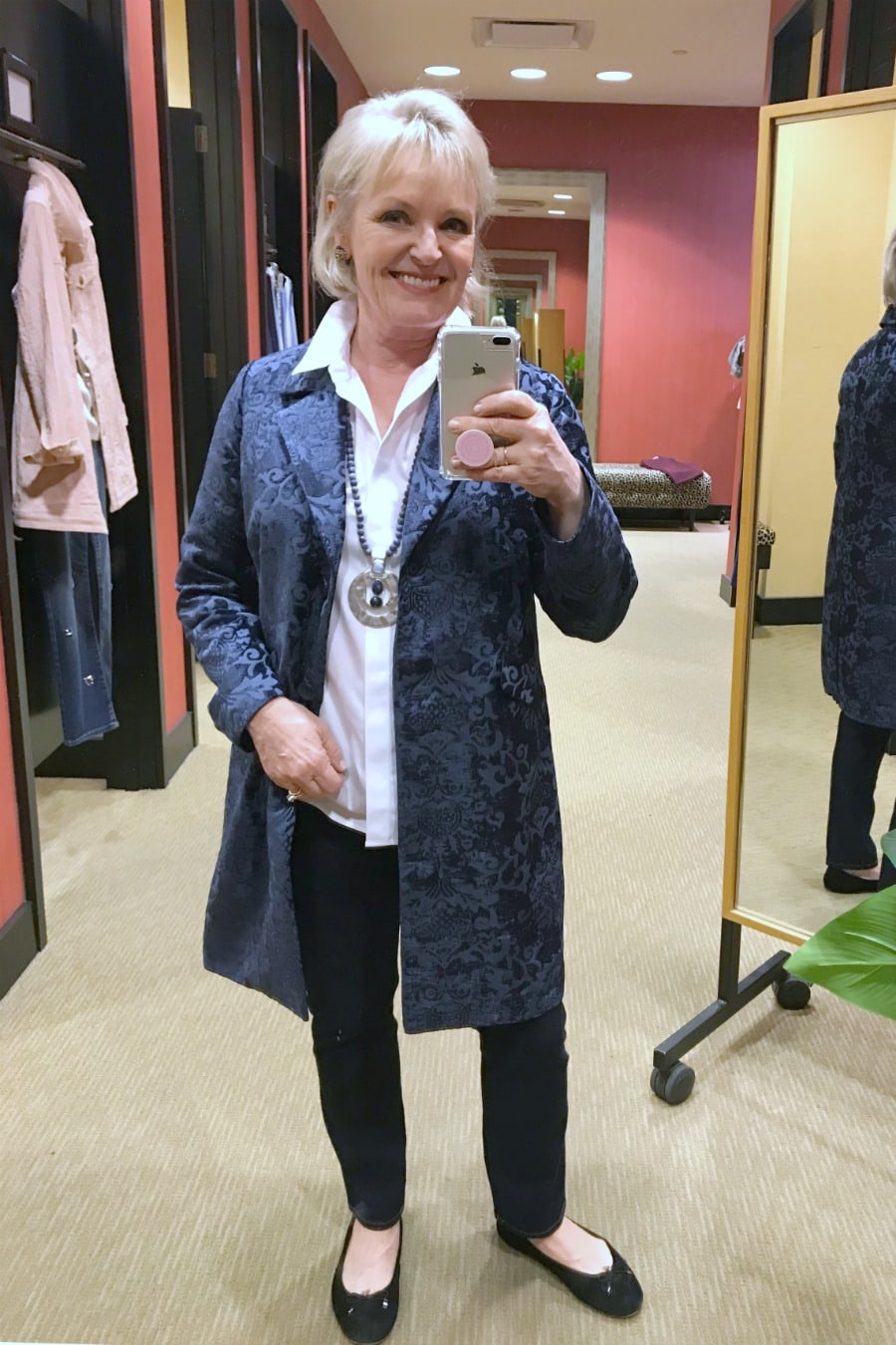 Jennifer of A Well Styled Life wearing Blue Jacquard jacket from Chioco's