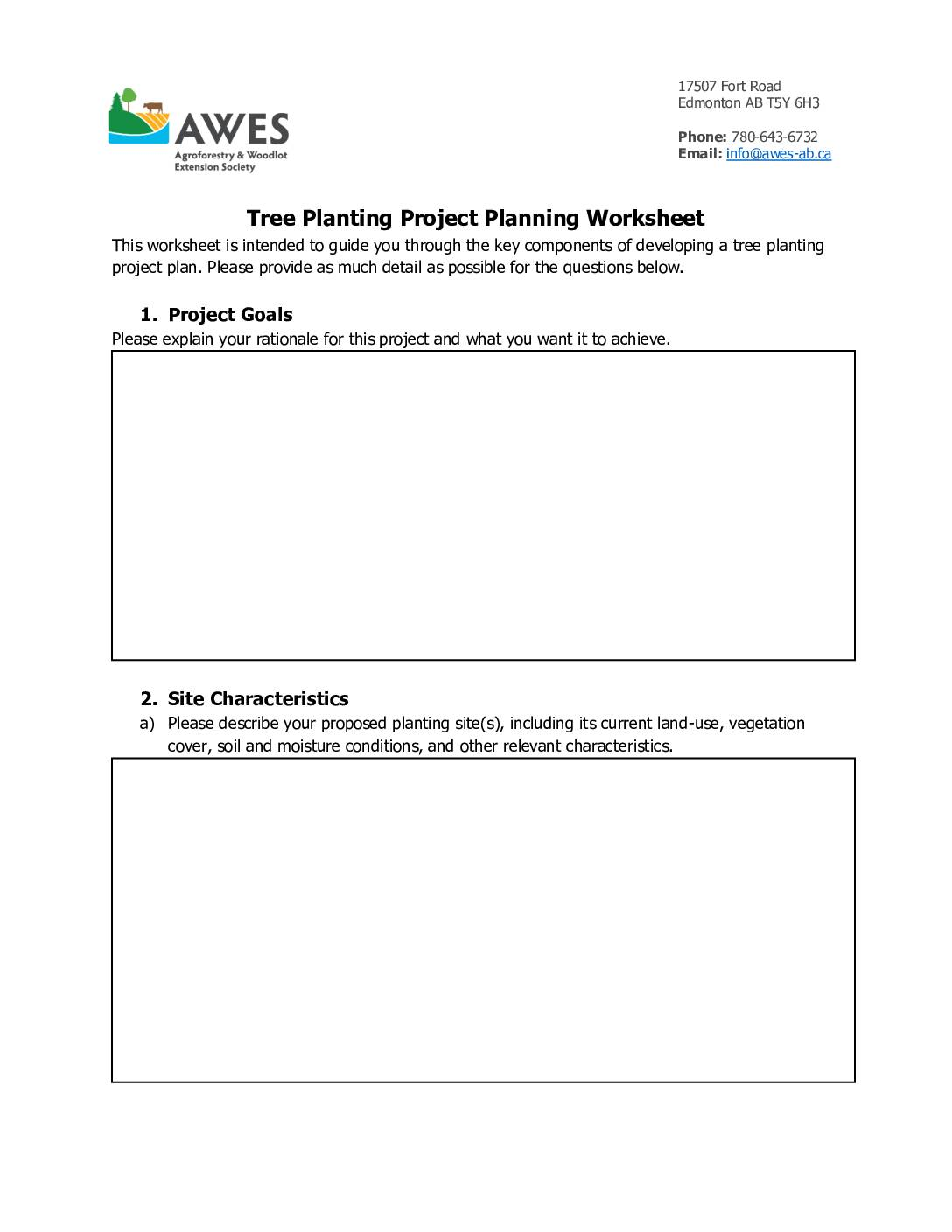 Awes Planting Project Planning Worksheet Awes