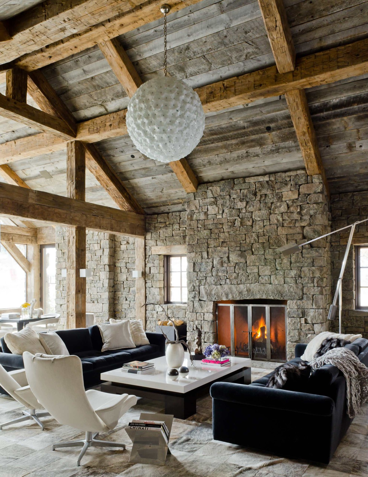 Dimpled Chandelier Stone Fireplace Rustic Living Room Set