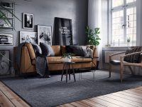 grey black and brown living room