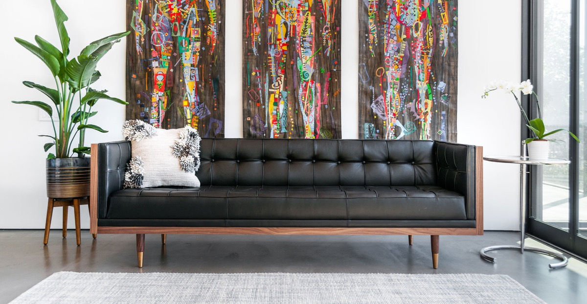 Mid Century Modern Black Leather Tufted Sofa Enclosed With Ash Wood Awesome Decors