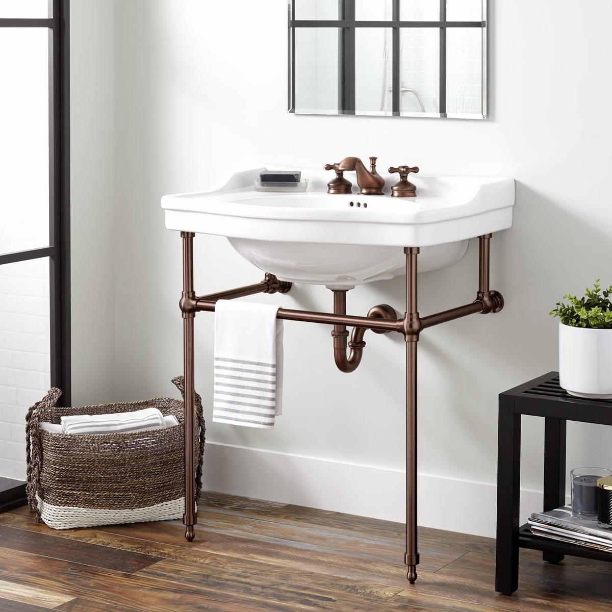Narrow Depth Bathroom Vanity Sale Fresh Cierra Console Sink With Brass Stand Bathroom Awesome Decors