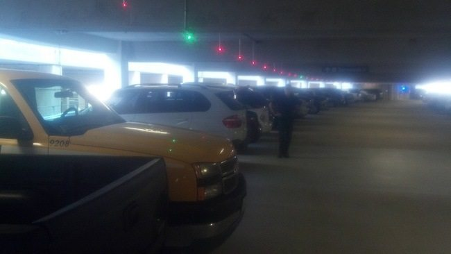 parking garage with lights to show spaces