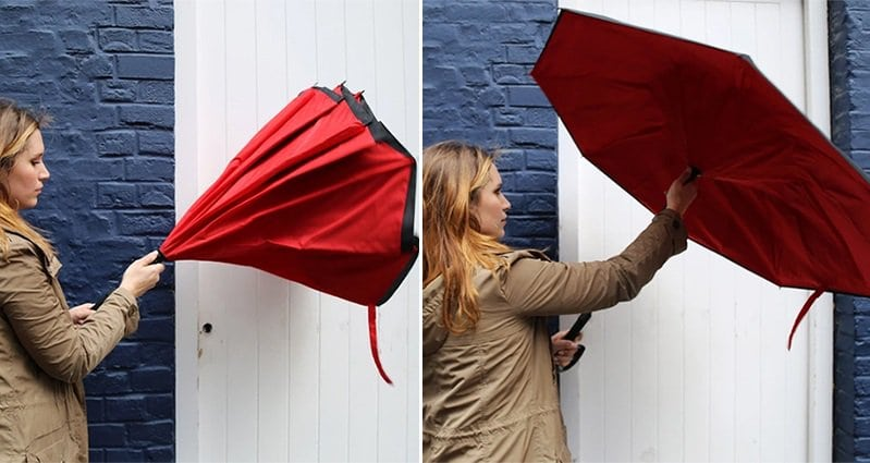 New Revolutionary Umbrella KAZbrella Folds Inside Out