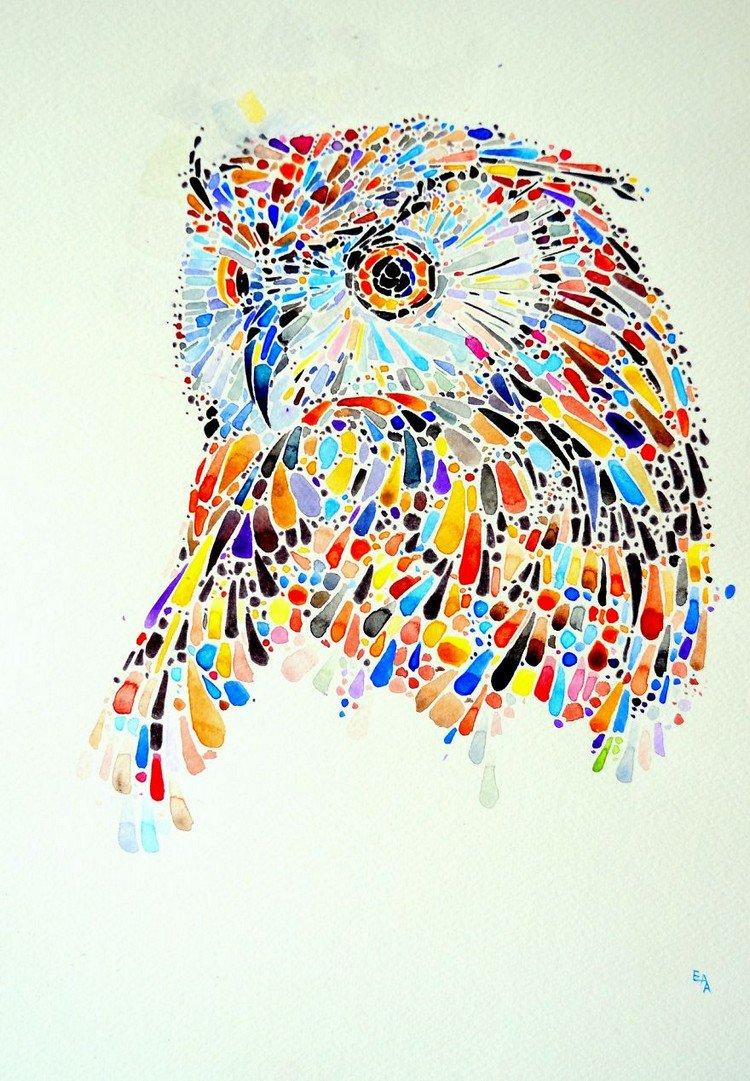 Ana Enshina Creates Colorful Dotted Animal Paintings