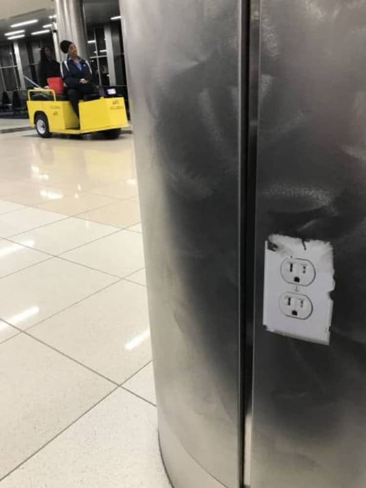 power outlet sticker deceitful people