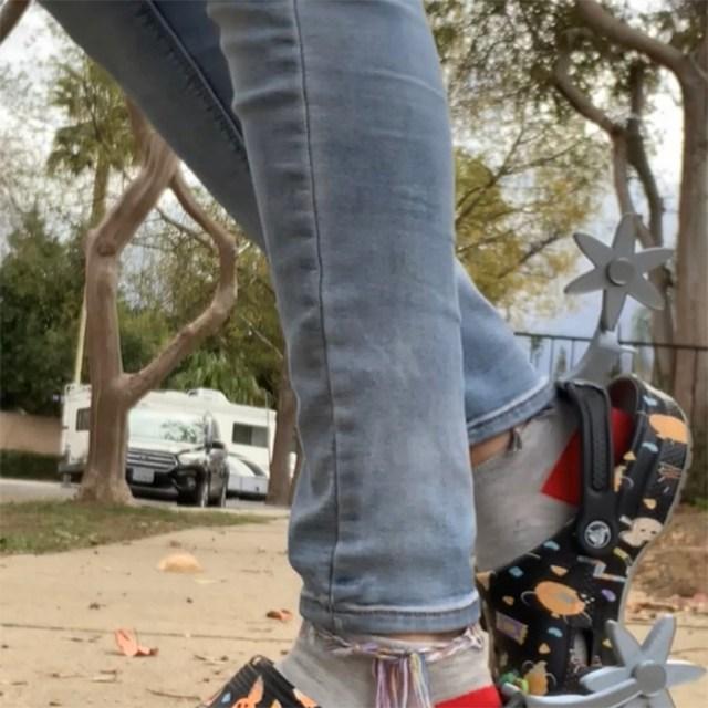 cowboy-inspired clogs attachment clack sound
