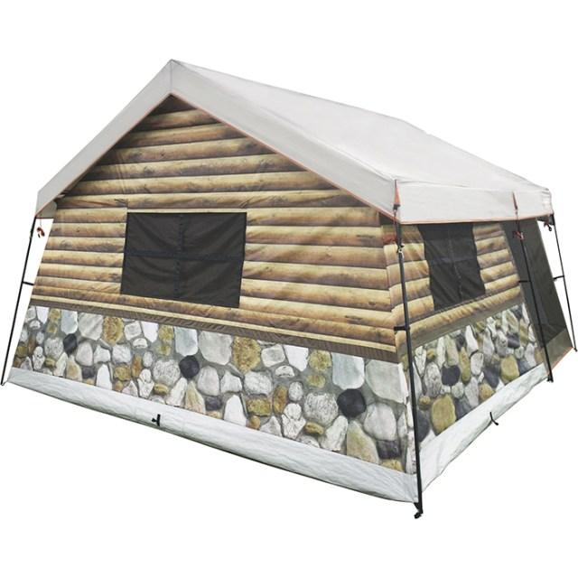log cabin tent back side