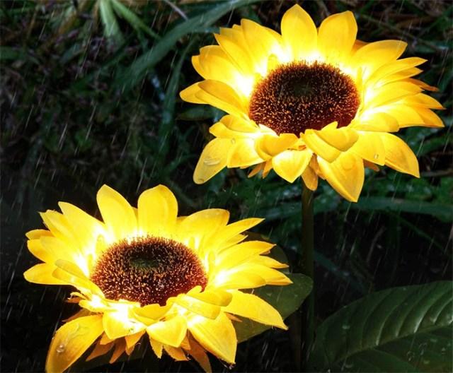 solar powered sunflower lights waterproof