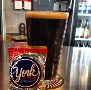Right Brain Brewery's Naughty Girl Stout pairs perfectly with a York Peppermint Patty
