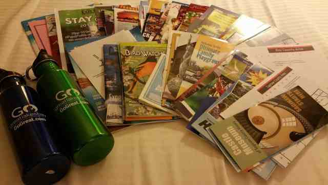 Guidebooks & Water Bottles from Go Great Lakes Bay - #MittenTrip - Saginaw - The Awesome Mitten