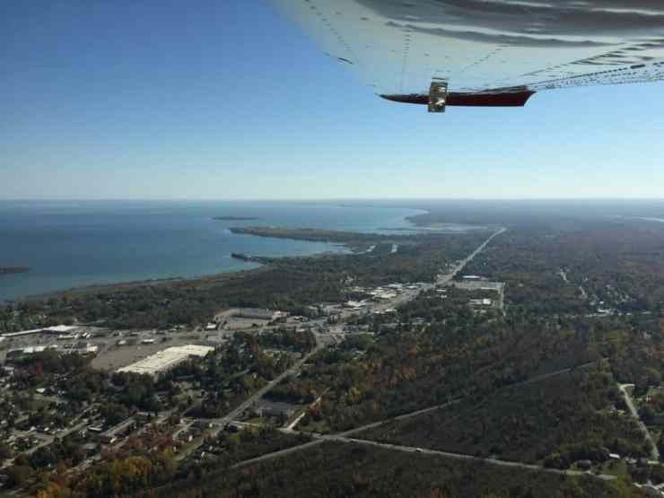 Aerial view of US-23, Alpena and Thunder Bay, facing south. Photo by Joel Heckaman - Awesome Mitten - MittenTrip